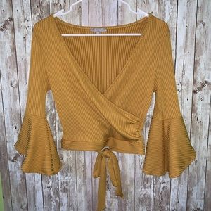 Yellow Crop Top V-Neck W/ Bell Sleeves